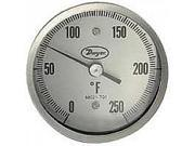 "BT20S52571 Sanitary bimetal thermometer, 1.5"" clamp size, 2.5"" stem, range 50 to 550DegF.  (5"" Dial)"