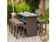 Christopher Knight Home Milton Outdoor Seven Piece Brown Wicker Bar Set