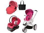 Quinny CV078BFU Moodd Stroller Travel System and Dreami Bassinet in Pink Passion with Diaper Bag