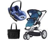 Quinny CV155BFW Buzz 3 Prezi Travel System in Blue Scratch with Diaper Bag