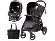 Peg Perego Book Stroller Travel System with a Diaper Bag - Nero Reflect   Black with reflect piping