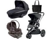 Quinny Buzz Xtra Travel System and  Bassinet in Black with Diaper Bag