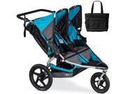 BOB - Revolution FLEX Duallie Double Stroller with Bag - Lagoon Silver