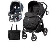 Peg Perego Book Plus Stroller Travel System with a Diaper Bag - Pois Black   Black Dots