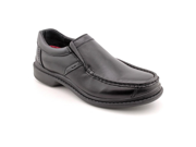 Hush Puppies Preston Mens Size 8 Black Moc Leather Loafers Shoes