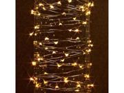Gerson 38626 - 10' 30 Light Silver Wire Warm White Battery Operated Outdoor LED Micro Miniature Christmas Light String Set with Timer