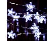 """Gerson 39193 - 40"""" 20 Light Silver Wire Cool White Battery Operated LED Micro Miniature Acrylic Star Christmas Light String Set with Timer"""