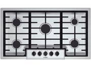 """37"""" Gas Cooktop with 5 Sealed Burners, 16,000 BTU Burner, Cast Iron Continuous Grates, Heavy-Duty Metal Knobs, Centralized Controls and Low-Profile Design"""