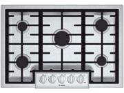 """31"""" Gas Cooktop with 5 Sealed Burners, 18,000 BTU Burner, Cast Iron Continuous Grates, Heavy-Duty Metal Knobs, Centralized Controls and Low-Profile Design: Stainless Steel"""