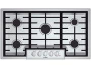 """37"""" Gas Cooktop with 5 Sealed Burners, 18,000 BTU Burner, Cast Iron Continuous Grates, Heavy-Duty Metal Knobs, Centralized Controls and Low-Profile Design: Stainless Steel"""