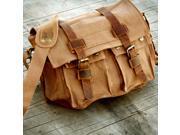 Men's Vintage Canvas and Leather Satchel School Military Shoulder Bag Messenger - Brown