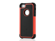 2 Piece Black & Red Hybrid Rugged Hard PC Soft Silicone Back Case Cover for iPhone 5 + Stylus Pen and Screen Protector