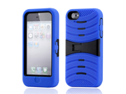 Blue Black 3 Piece Hybrid Hard PC Soft Silicone Case Cover w/ Stand for Apple iPhone 5