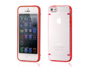 Hard PC Clear Back Cover + Red TPU Frame Hybrid Case for iPhone 5 5S