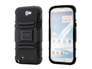 Black Rugged Hybrid Hard Case Cover Belt Clip Holster for Samsung Galaxy Note 2 II