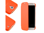 Orange PU Leather Slim Flip Flap Case Cover for Samsung Galaxy S4 i9500