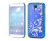 Blue Bling Brushed Metal Aluminum Plating Chrome Hard PC Back Cover Case for Samsung Galaxy S4 i9500