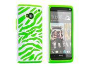 White Green Dual Layer Zebra Hybrid Hard PC Soft Silicone Back Cover Case for HTC one M7