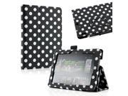 Gearonic ™ Folio PU Leather Case Cover with Stand for 2013 New Kindle Fire HDX 7  - Black Polka Dots