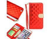 "GEARONIC TM Luxury Rhinestones Bling Magnetic PU Leather Pouch Credit Card Holder Flip Wallet Case Cover for Apple iPhone 6 Plus 5.5"" -Red"