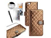 """GEARONIC TM Luxury Rhinestones Bling PU Leather Pouch Credit Card Holder Cover String Strap Flip Wallet Case for Apple iPhone 6 Plus 5.5"""" with Free Tempered Glass Screen Guard - Brown"""