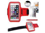 """GEARONIC TM Premium Running Jogging Sports Workout Gym Armband Sportband Pouch Case Cover Holder for iPhone 6 Plus 5.5"""" with Free Tempered Glass Screen Guard - Red"""