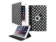 GEARONIC TM 2014 Apple iPad Air 2 360 Degree Rotating Stand Smart Cover PU Leather Swivel Case - Black Polkadot