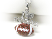 White Gold Crystal I Love Football Pendant Necklace Fashion Jewelry