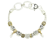 Two Tone Heart Sliding Charm Designer Style Fashion Bracelet