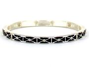 Silvertone Black Clear Crystal Accent Stretch Bangle Bracelet