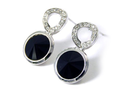 Black Faceted Swarovski Elements Crystal Dangle Earrings Fashion Jewelry