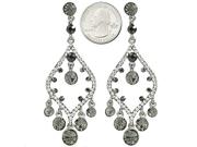 Silvertone Black and Clear Crystal Chandelier Post Earrings