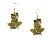 Goldtone Green Crystal Frog Dangle Fashion Jewelry