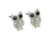 Silvertone Clear Rhinestone Owl Post Earrings Fashion Jewelry