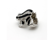 Black and Clear Crystal Frog Stretch Fashion Ring