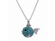 Silvertone Aqua Rhinestone Blowfish Charm Pendant Necklace