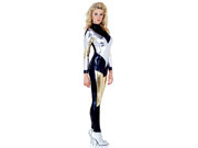 Women's Sexy Electra Silver, Gold and Black Catsuit Costume
