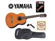 Yamaha C40 6-String Nylon Classical Acoustic Guitar Bundle, Natural C40II