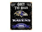 "Party Animal Ravens Vintage Metal Sign - ""Obey The Rules"" - 11.5"" Width x 14.5"" Height - Steel"
