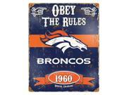 """Party Animal Broncos Vintage Metal Sign - """"Obey The Rules"""" - 11.5"""" Width x 14.5"""" Height - Steel"""