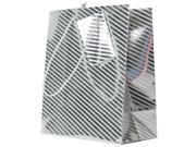 Small Silver Foil Diagonal Pinstripe Shopping Bags - 4 1/4 x 5 1/2 x 2 3/8 - 100 bags per pack
