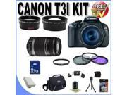 Canon EOS Rebel T3i 18 MP CMOS Digital SLR Camera and DIGIC 4 Imaging with EF-S 18-55mm  IS Lens & Canon 75-300 Lens + 58mm 2x Telephoto lens + 58mm Wide Angle Lens (4 Lens Kit!) W/32GB Kit!