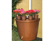 KoolScapes 50-Gallon Brown Rain Barrel with 5 Planters # RBBP-50