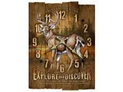 American Expedition Whitetail Deer Wooden Wall Clock WCBK-102