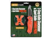 Accusharp SharpNEasy 2-Step Sharpener & Sport Knife Orange 045C