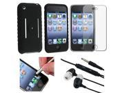 Silver Stylus + 3.5mm Black Headset + Black Silicone Soft Gel Case + Premium Reusable LCD Screen Protector Compatible With Apple® iPhone® 3G / 3GS