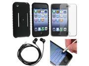 Black Silicone Soft Gel Case + Black Headset + Silver Stylus + LCD Screen Protector Compatible With Apple® iPhone® 3G