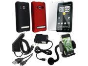 compatible with HTC EVO 4G RED + BLK CASE + AC + CAR CHARGER + CABLE + HOLDER