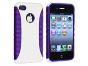 Hybrid Case with Black Touch Screen Stylus compatible with Apple® iPhone® 4 4S, Dark Purple TPU / White Hard (with Reusable Screen Protector Bonus Included)