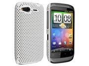 White Meshed Rear Rubber Coated Case + Silver Stylus Pen compatible with HTC Desire S / Desire 2